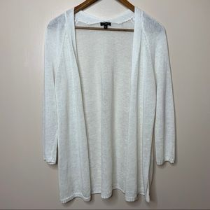 Talbots White 100% Linen Open Front Knit Cardigan